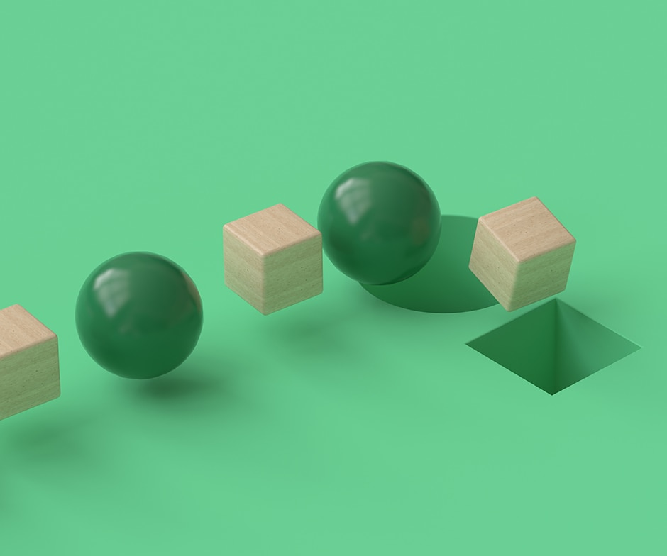 green balls and wooden cubes