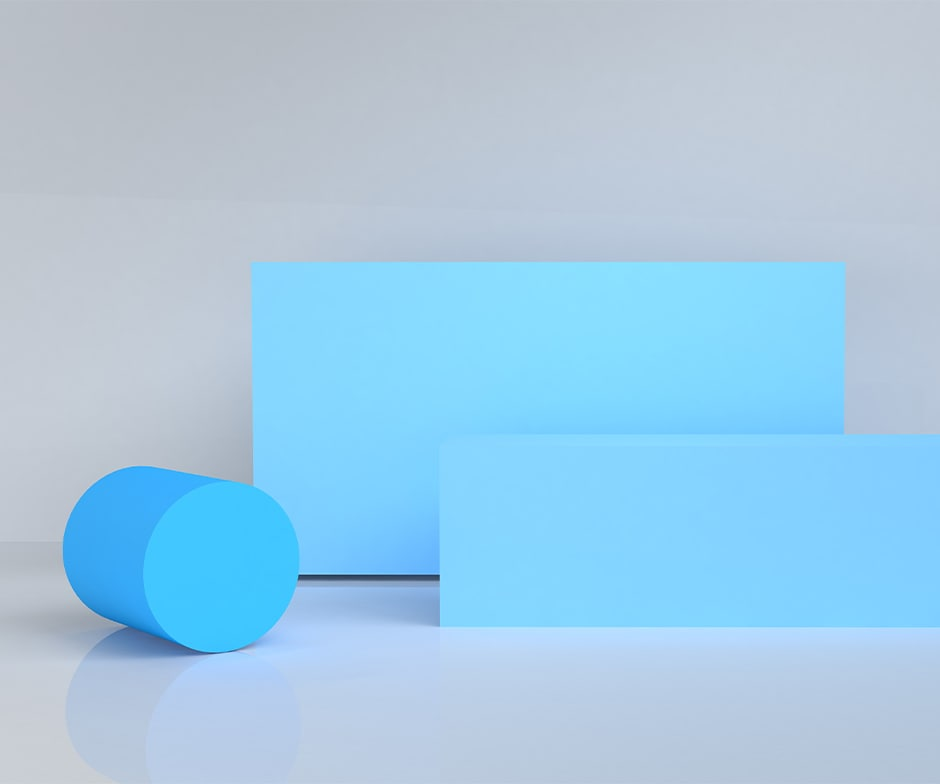 blue cylinder and rectangles