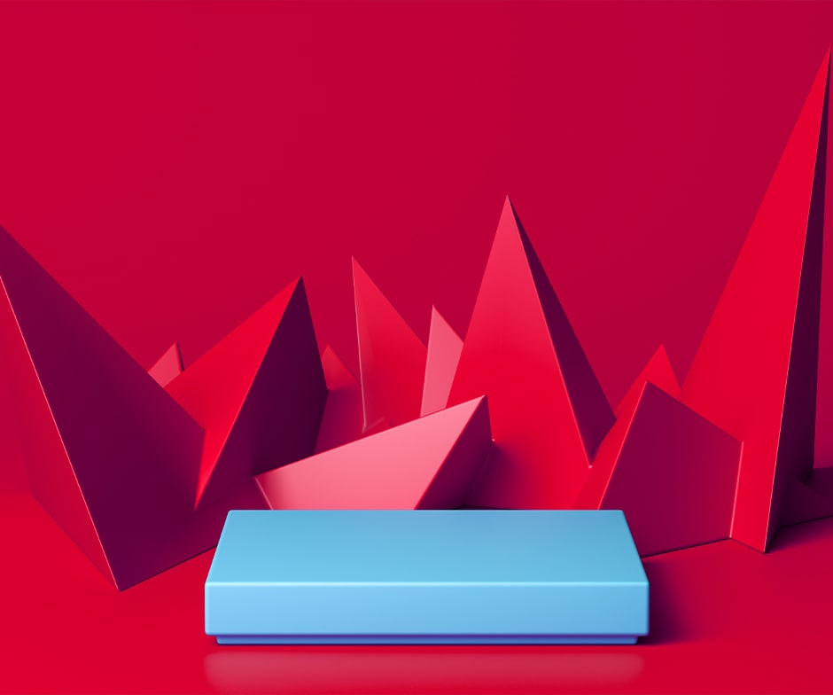 red spikes with blue rectangle on red background