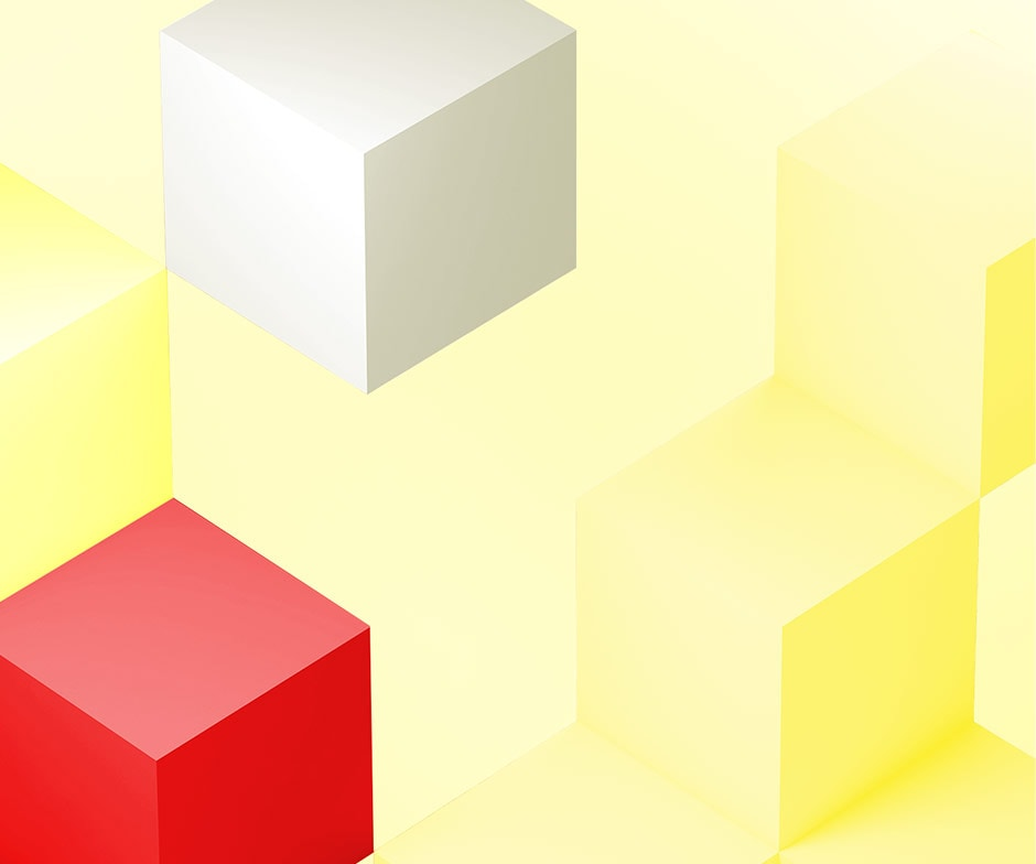 floating white, red and yellow cubes
