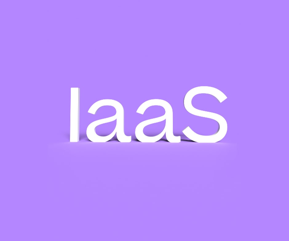The letters laaS written in white on a purple background