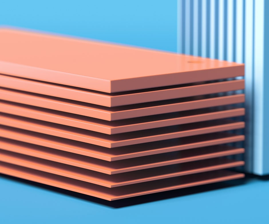 stacked peach colored rectangles on blue background
