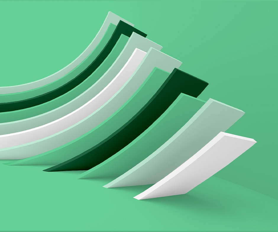 green and white shapes