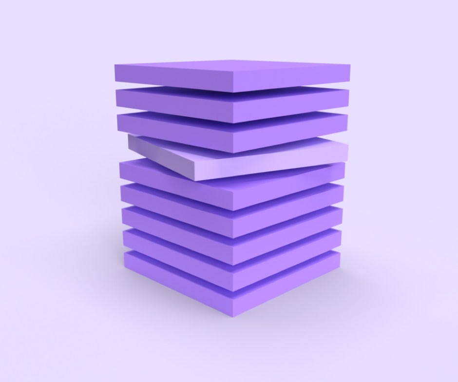 9 purple square slices stacked on each other with one in the middle turned at an angle