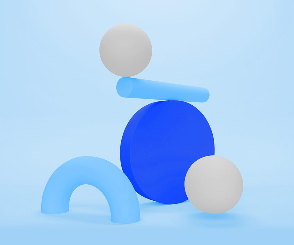 5 abstract shapes balancing on each other on a blue background