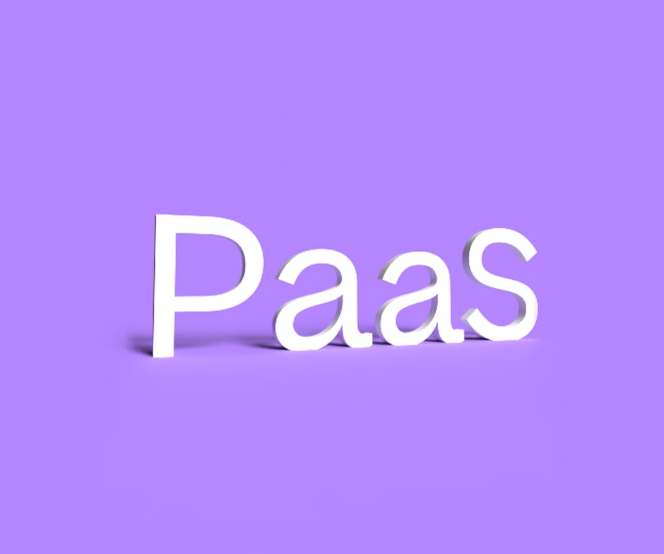 The letters PaaS written in white on a purple background