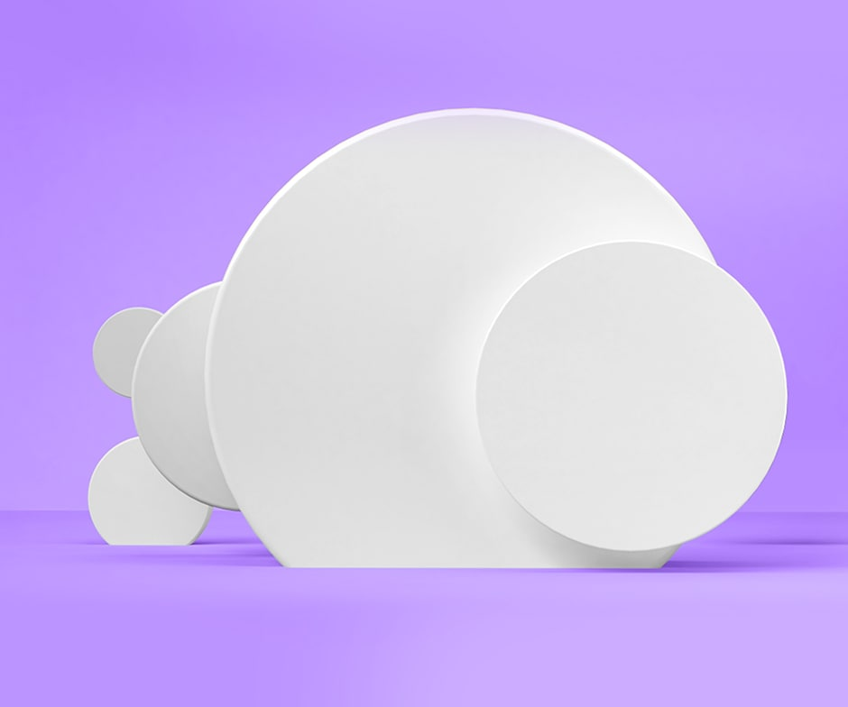 white discs and purple background