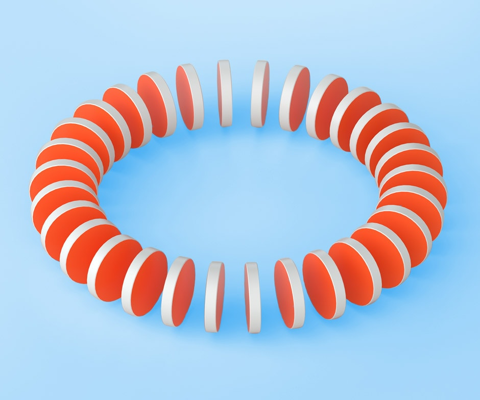 slices of an orange cylinder with white coating arranged in a circle in front of a light blue background