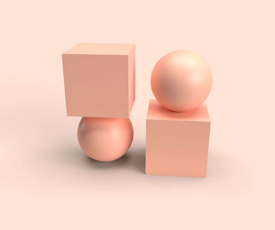 peach square atop a peach sphere, both next to an inverse image of itself in front of peach background