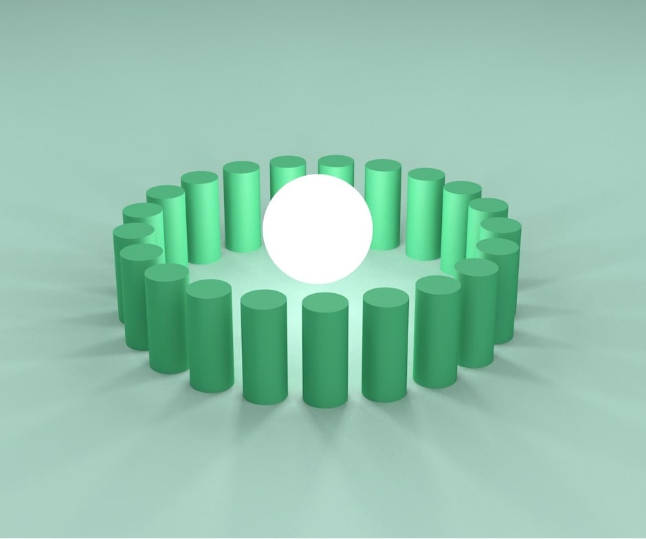 white ball encircled by green cylinders on a green background