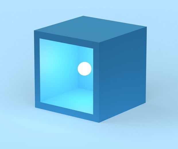 A blue cube with one side missing and a white sphere inside the cube on a blue background