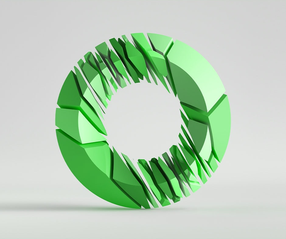 green sliced doughnut
