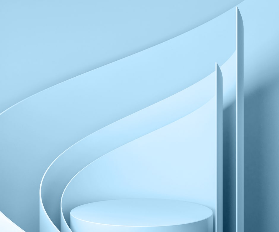 abstract light blue enviroment with dramatic shapes