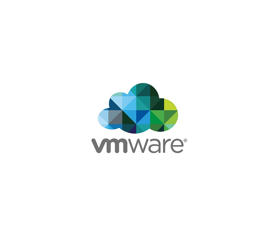 a cloud made up of blue a green triangles with the word vmware below it