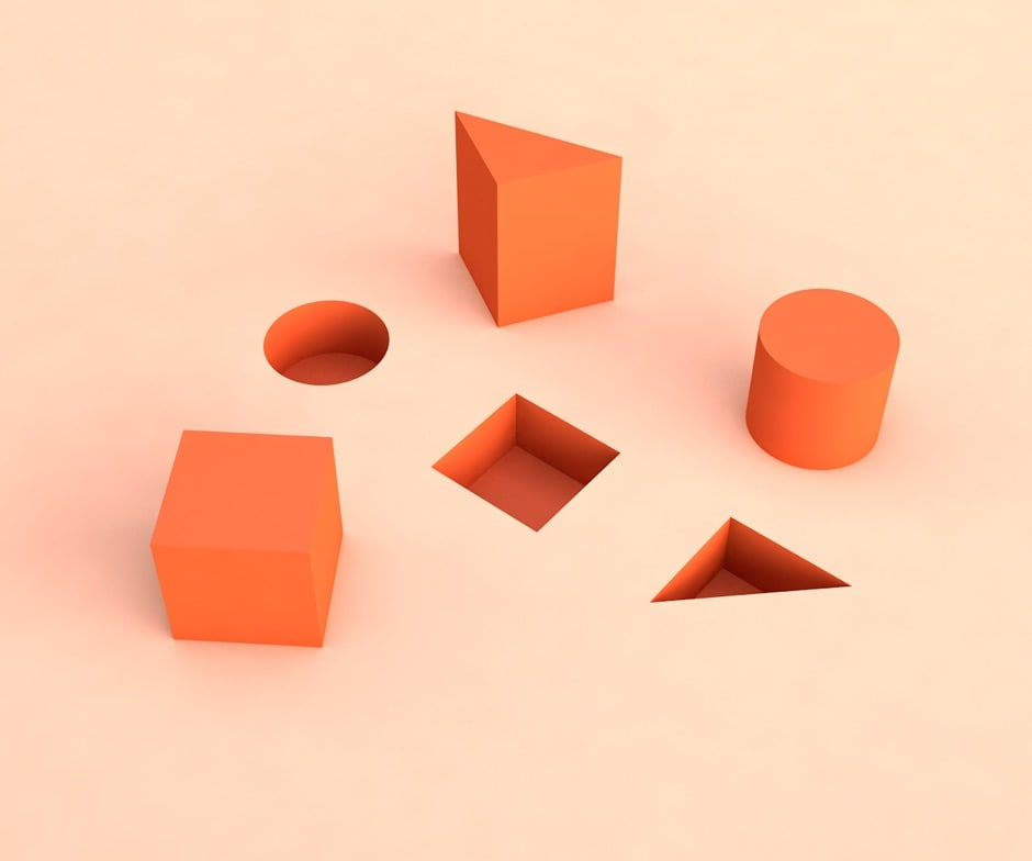Orange shapes on pink background