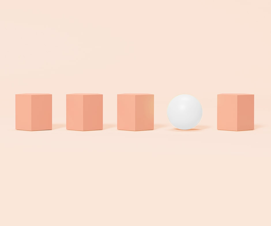 orange cubes and white ball