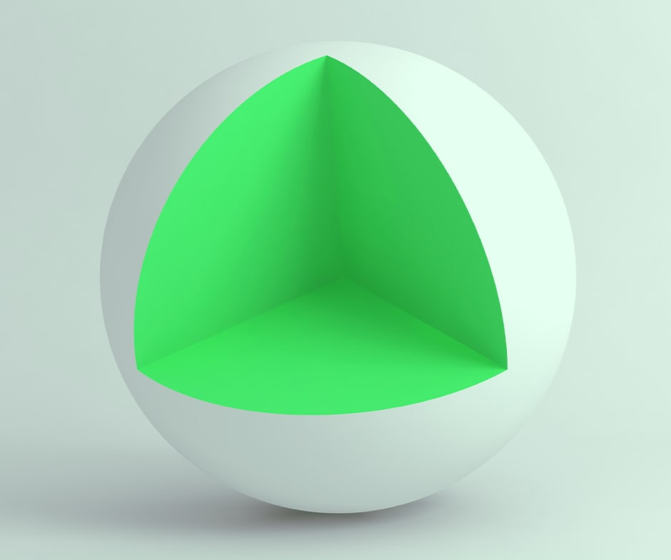 white sphere with piece cut out to reveal lime green interior