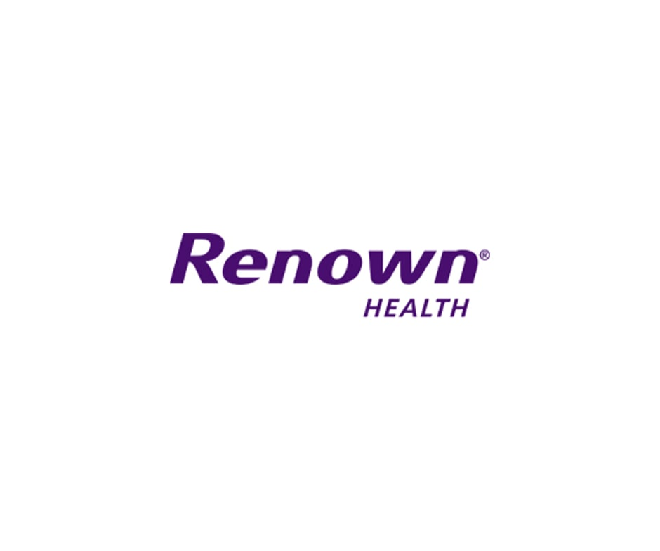 Renown Health logo with purple letters on white background