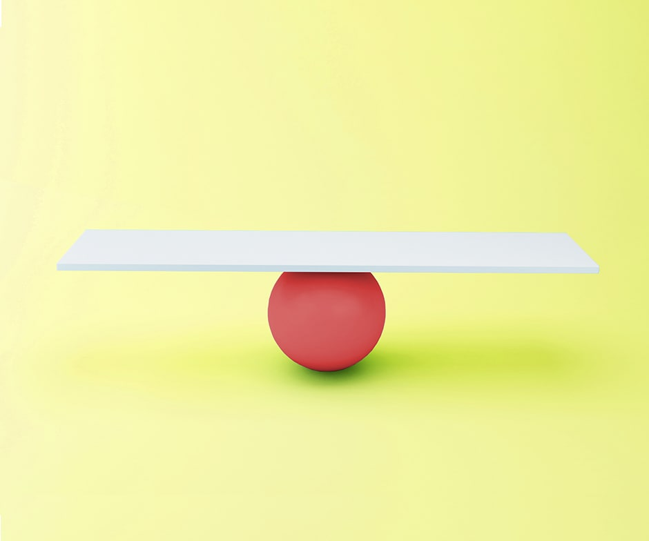 red balance ball and white board