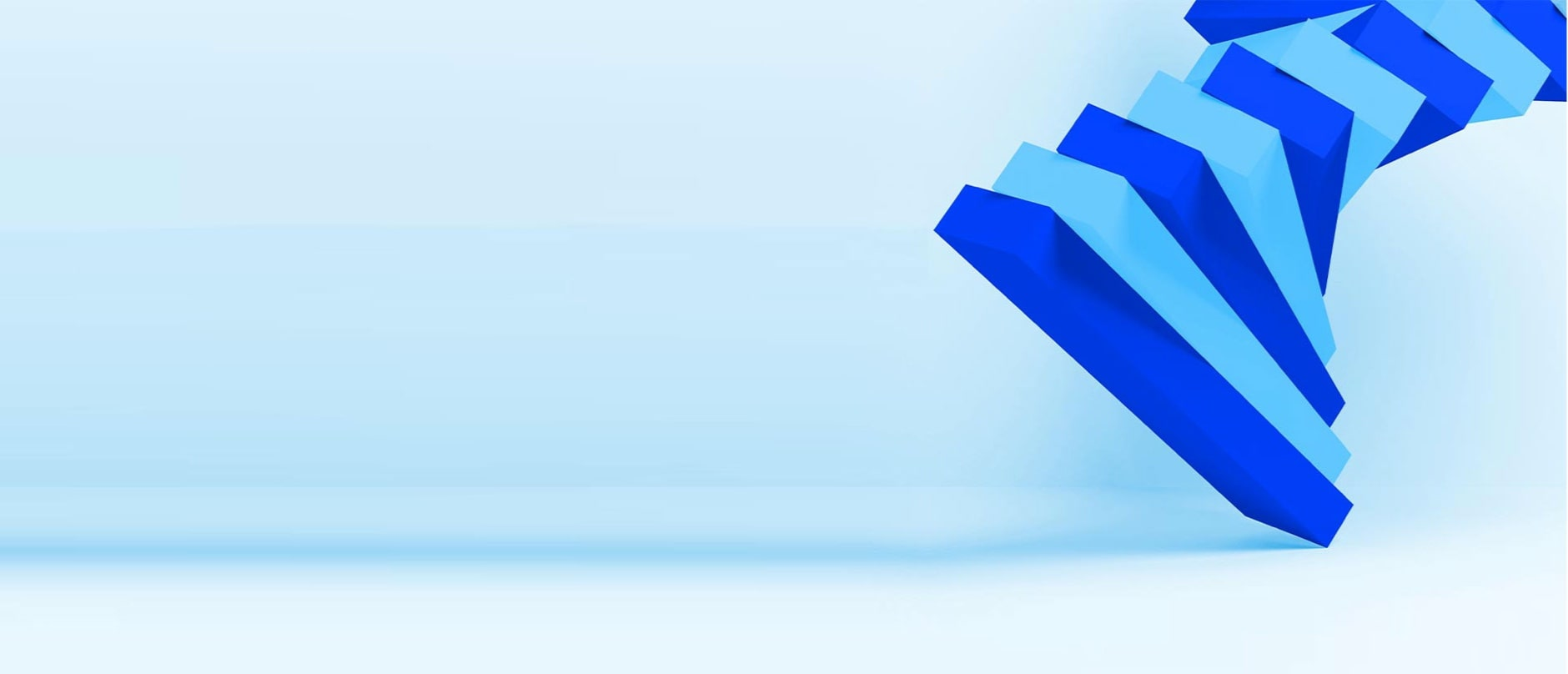 many blue 3D rectangles floating on a blue background