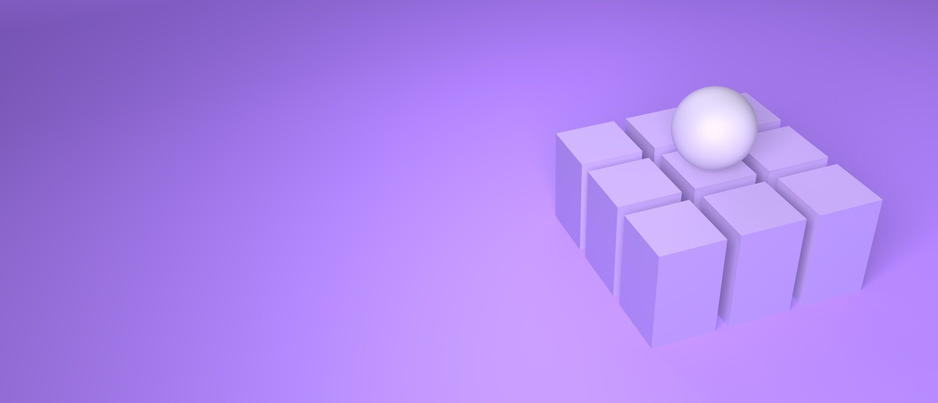 white sphare on purple cubes