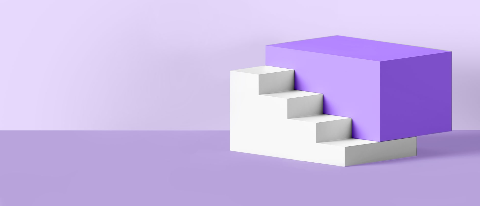 purple background behind a purple block with white stairs in front