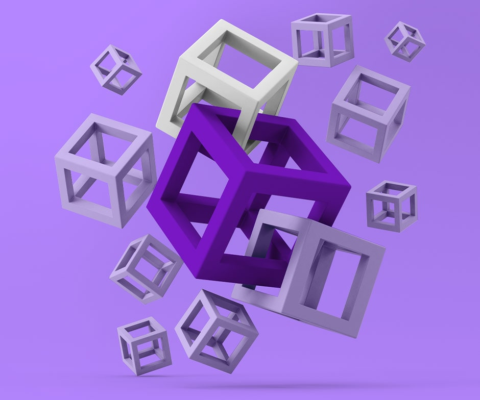 purple floating cubes