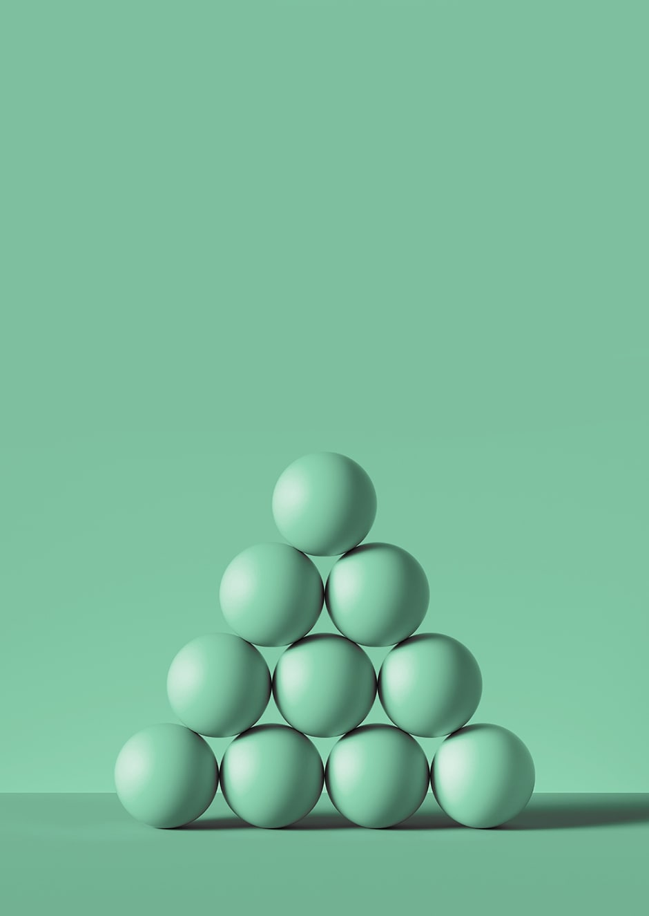 10 green spheres stacked in a pyramid with green background