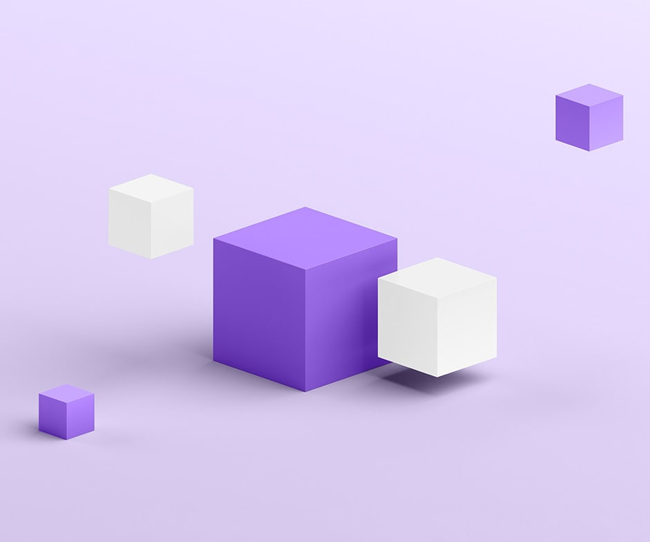 purple and white cubes with purple background