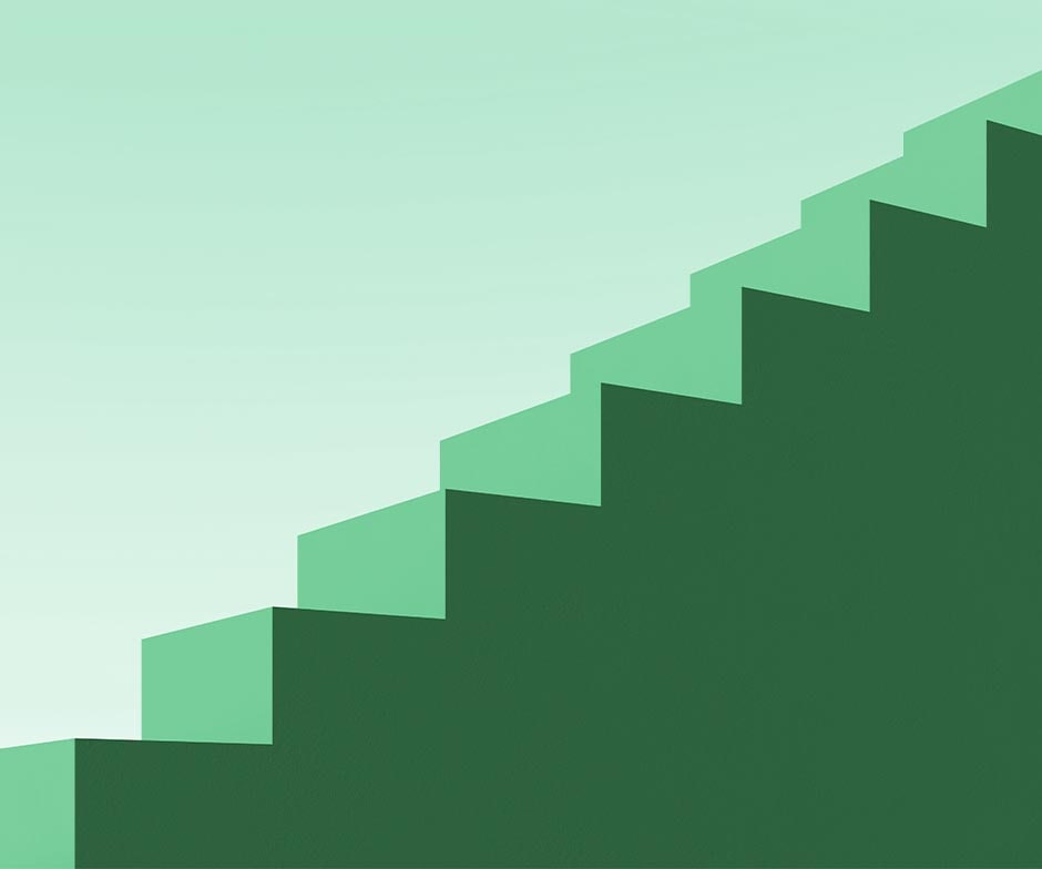 Green stairs on green background