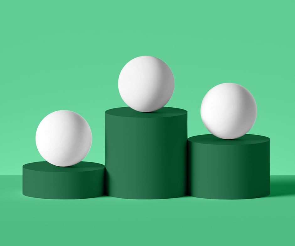 Three green cylinders standing tall with one white spheres on top of each cylinder on a lighter green background