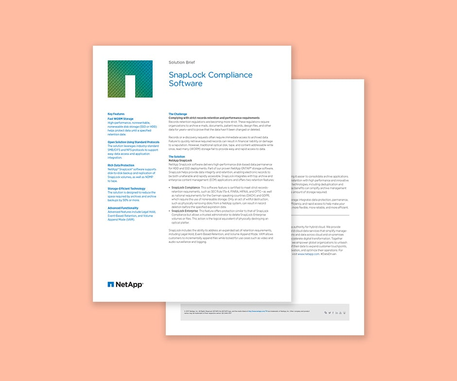 snaplock compliance solution brief 2-page document
